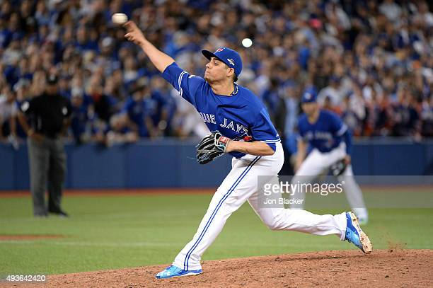 Roberto Osuna of the Toronto Blue Jays pitches during Game 5 of the ALCS against the Kansas City Royals at the Rogers Centre on Wednesday October 21...