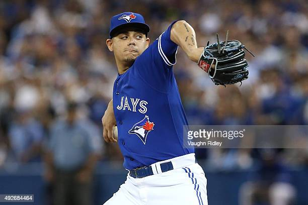 Roberto Osuna of the Toronto Blue Jays pitches in the eighth inning against the Texas Rangers in game five of the American League Division Series at...