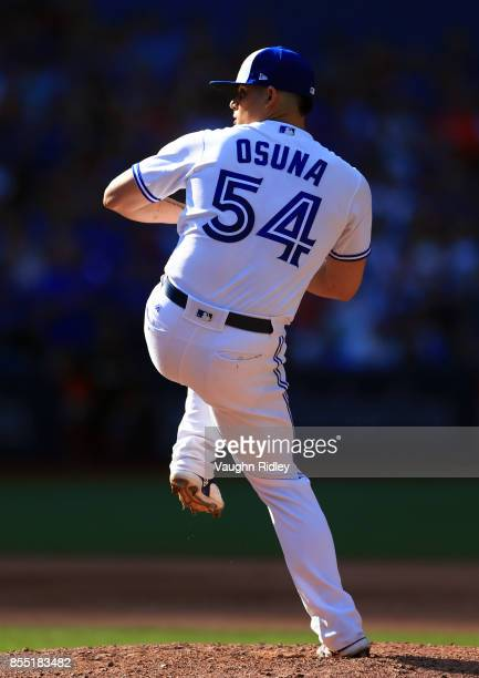 Roberto Osuna of the Toronto Blue Jays pitches in the ninth inning during a MLB game against the New York Yankees at Rogers Centre on September 24...
