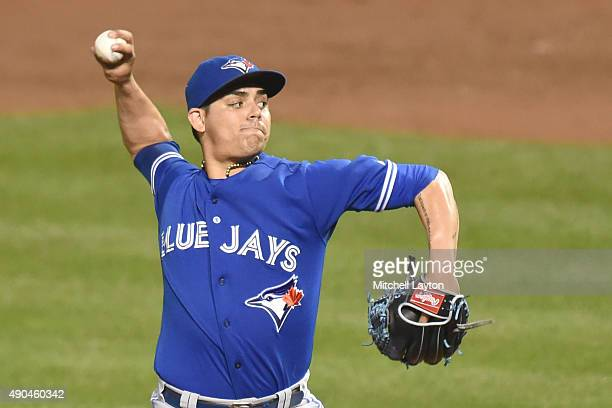 Roberto Osuna of the Toronto Blue Jays pitches in the ninth inning for his 20th save during a baseball game against the Baltimore Orioles at Oriole...