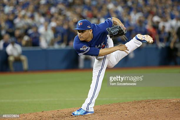Roberto Osuna of the Toronto Blue Jays pitches in the ninth inning against the Texas Rangers during game two of the American League Division Series...
