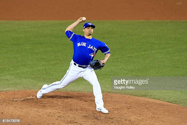 Roberto Osuna of the Toronto Blue Jays pitches in the ninth inning against the Cleveland Indians during game four of the American League Championship...