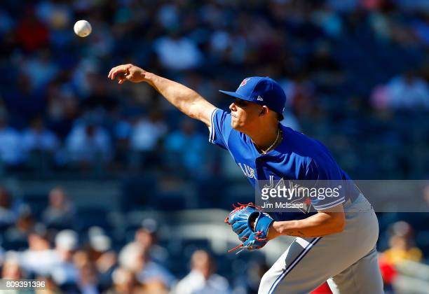 Roberto Osuna of the Toronto Blue Jays pitches in the ninth inning against the New York Yankees at Yankee Stadium on July 5 2017 in the Bronx borough...
