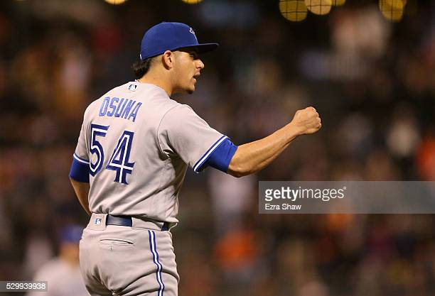 Roberto Osuna of the Toronto Blue Jays reacts after they beat the San Francisco Giants at ATT Park on May 09 2016 in San Francisco California