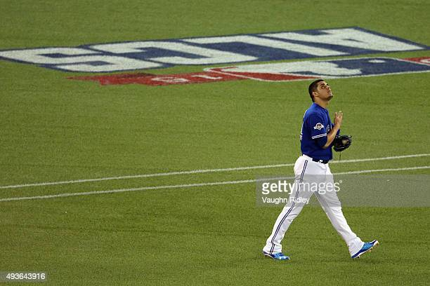 Roberto Osuna of the Toronto Blue Jays reacts to a 71 win over the Kansas City Royals during game five of the American League Championship Series at...