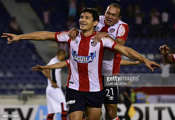 Roberto Overar of Colombia´s Junior celebrate after scoring against Peru's Melgar during their 2015 Sudamericana Cup football match held at...