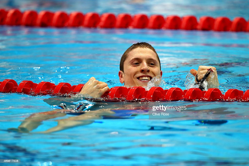 <a gi-track='captionPersonalityLinkClicked' href=/galleries/search?phrase=Roberto+Pavoni&family=editorial&specificpeople=5534790 ng-click='$event.stopPropagation()'>Roberto Pavoni</a> of Loughboro University reacts after winning the Men's 200m Individual Medley Final on day two of the British Swimming Championships at Aquatics Centre on April 15, 2015 in London, England.