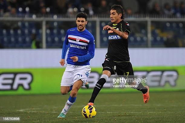 Roberto Pereyra of Udinese Calcio in action against Roberto Soriano of UC Sampdoria during the Serie A match between UC Sampdoria and Udinese Calcio...