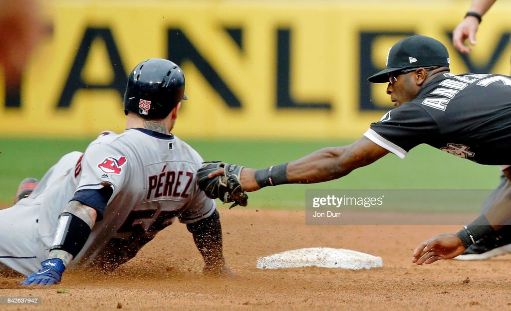 Roberto Perez #55 of the Cleveland Indians beats the tag of Tim Anderson #7 of the Chicago White Sox at second base for a double during the ninth inning at Guaranteed Rate Field on September 4, 2017 in Chicago, Illinois. The Cleveland Indians won 5-3.