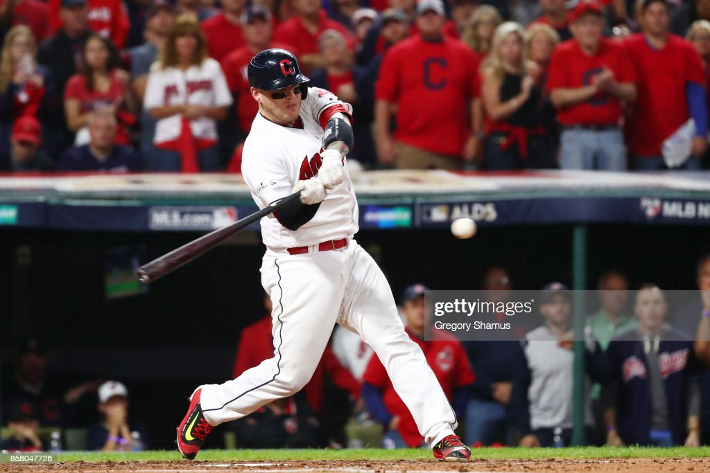 Roberto Perez #55 of the Cleveland Indians grounds into an RBI double play during the second inning against the New York Yankees during game one of the American League Division Series at Progressive Field on October 5, 2017 in Cleveland, Ohio.