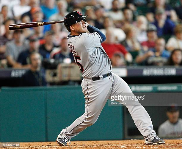 Roberto Perez of the Cleveland Indians hits a home run in the fourth inning against the Houston Astros at Minute Maid Park on April 9 2015 in Houston...