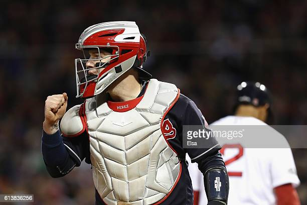 Roberto Perez of the Cleveland Indians reacts in the eighth inning against the Boston Red Sox during game three of the American League Divison Series...