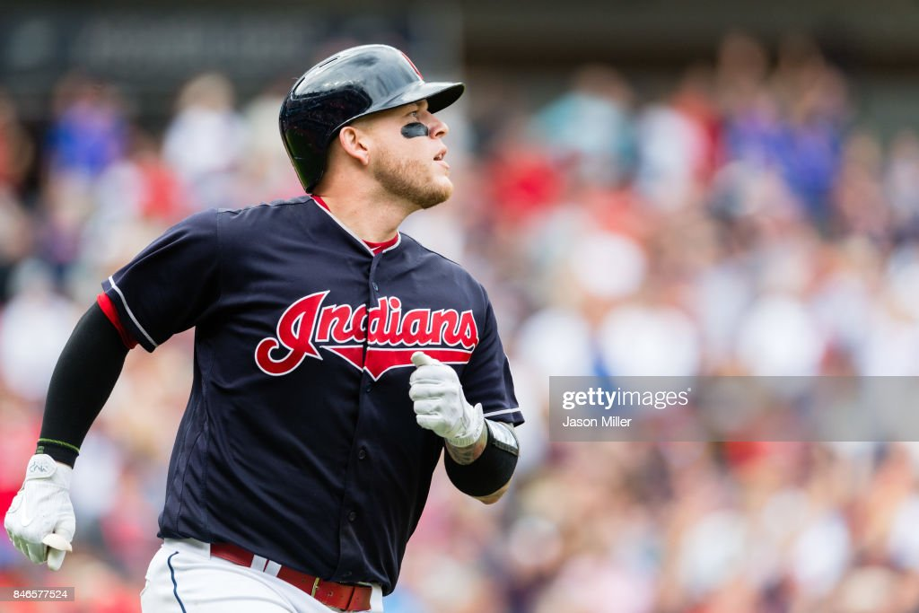 Roberto Perez #55 of the Cleveland Indians rounds the bases on a solo home run during the seventh inning against the Detroit Tigers at Progressive Field on September 13, 2017 in Cleveland, Ohio.