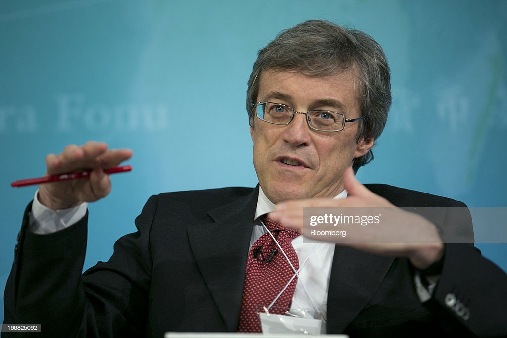 Roberto Perotti, professor of economics at Universita Bocconi, speaks at a macro policy discussion during the International Monetary Fund (IMF) and World Bank Group Spring Meetings in Washington, D.C., U.S., on Wednesday, April 17, 2013. As much as 20 percent of non-bank corporate debt in the weakest euro-area economies is unsustainable and may force companies to cut dividends and sell assets, dealing further blows to investor confidence, the IMF said. Photographer: Andrew Harrer/Bloomberg via Getty Images