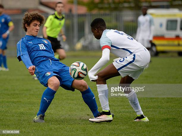 Roberto Piccoli of Italy U15 competes with Nathanael Ogbeta of England U15 during the U15 International Tournament match between Italy and England at...