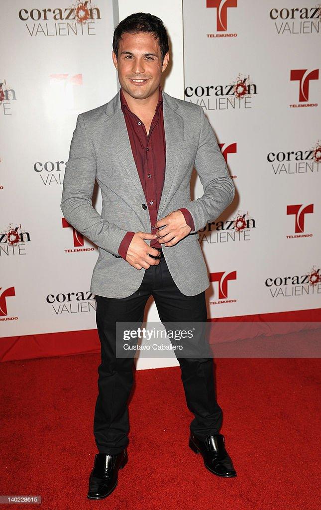 Roberto Plantier attends Telemundo's Corazon Valiente Red Carpet Premiere at Fontainebleau Miami Beach on February 29, 2012 in Miami Beach, Florida.