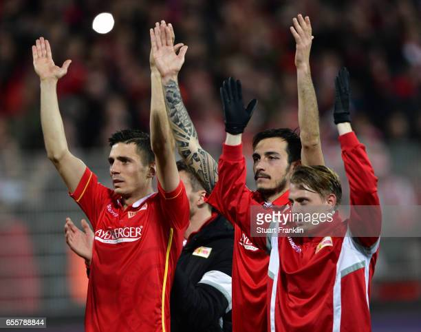 Roberto Puncec and Damir Kreilach of Berlin celebrate after the Second Bundesliga match between 1 FC Union Berlin and 1 FC Nuernberg at Stadion An...