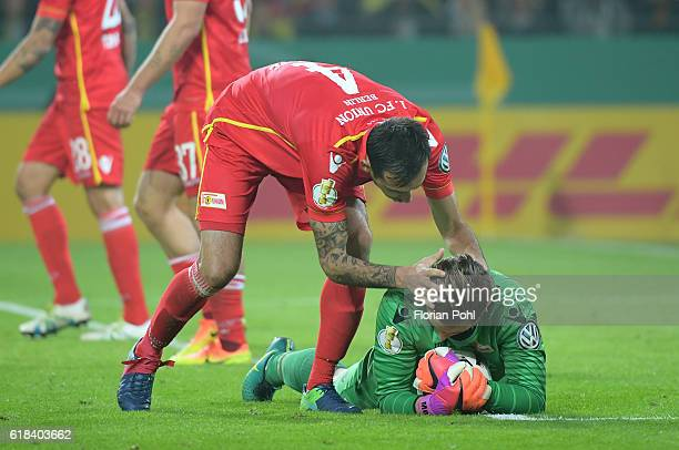 Roberto Puncec and Daniel Mesenhoeler of 1 FC Union Berlin during the game between Borussia Dortmund and dem 1 FC Union Berlin on october 26 2016 in...