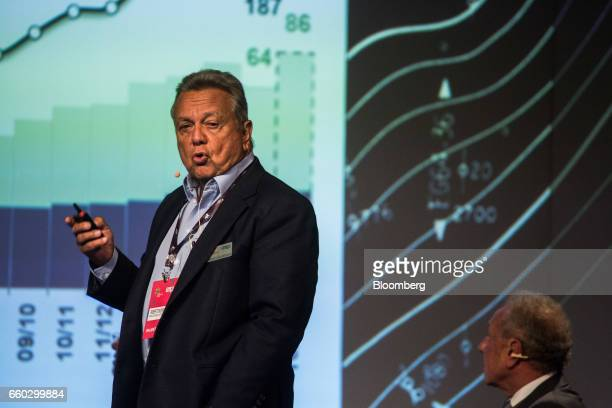 Roberto Rodrigues chairman of Agribusiness Fiesp and Brazil's former minister of agriculture speaks during the Global Agribusiness Forum in Sao Paulo...