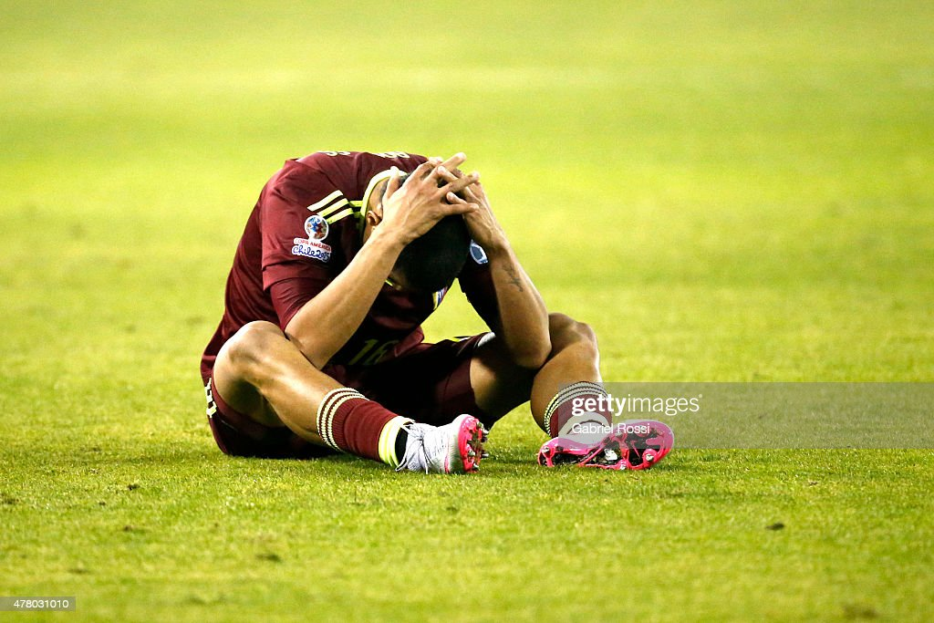 Roberto Rosales of Venezuela looks dejected after the 2015 Copa America Chile Group C match between Brazil and Venezuela at Monumental David Arellano Stadium on June 21, 2015 in Santiago, Chile.