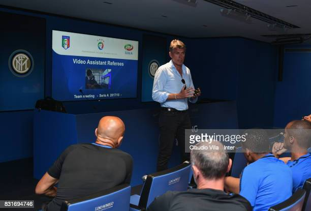 Roberto Rosetti FIGC responsible for the VAR project talks to FC Internazionale players at Appiano Gentile on August 15 2017 in Como Italy