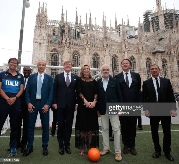 Roberto Samaden of FIGC King WillemAlexander of the Netherlands Queen Maxima of the Netherlands and mayor of Milan Giuseppe Sala attend a football...