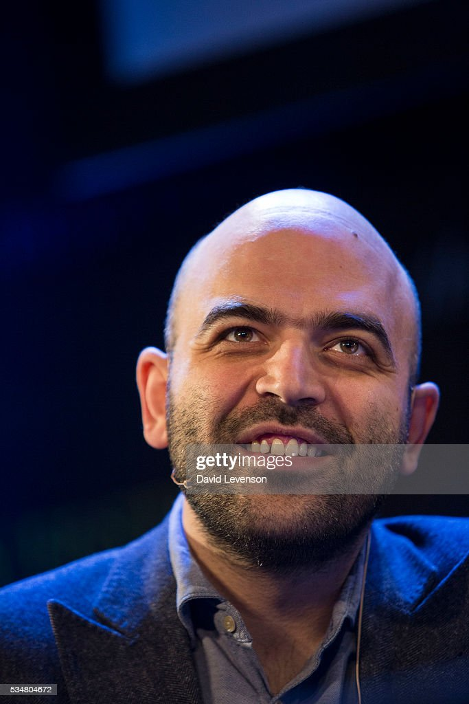 Roberto Saviano, Italian investigative journalist and author of Gomorrah and ZeroZeroZero, at the Hay Festival, on May 28, 2016 in Hay-on-Wye, Wales.