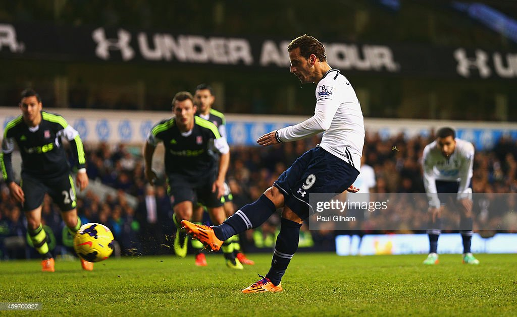 Roberto Soldado of Tottenham Hotspur scores from the penalty spot during the Barclays Premier League match between Tottenham Hotspur and Stoke City at White Hart Lane on December 29, 2013 in London, England.
