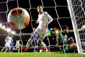 Roberto Soldado of Tottenham Hotspur watches the ball hit the back of the net after Christian Eriksen of Tottenham Hotspur scores the first goal from...