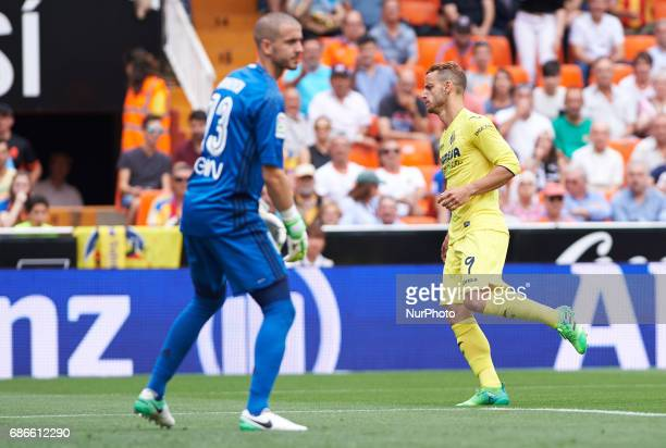 Roberto Soldado of Villarreal CF celebrates after scoring a goal during their La Liga match between Valencia CF and Villarreal CF at the Mestalla...