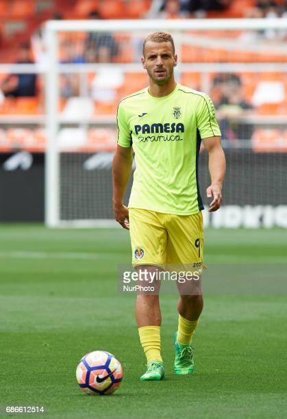 Roberto Soldado of Villarreal CF prior their La Liga match between Valencia CF and Villarreal CF at the Mestalla Stadium on 21th May 2017 in Valencia...