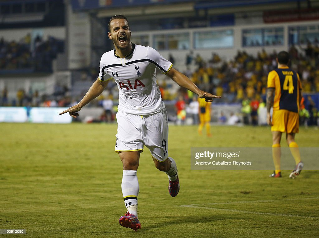 Roberto Soldado Rillo from Tottenham Hotspur celebrates scoring a goal during the AEL Limassol FC v Tottenham Hotspur - UEFA Europa League Qualifying Play-Off match on August 21, 2014 in Larnaca, Cyprus.