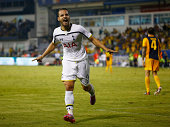 Roberto Soldado Rillo from Tottenham Hotspur celebrates scoring a goal during the AEL Limassol FC v Tottenham Hotspur UEFA Europa League Qualifying...