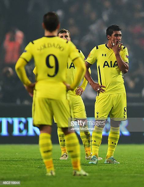 Roberto Soldado Vlad Chiriches and Paulinho of Spurs look dejected as Cenk Tosun of Besiktas scores their first goal during the UEFA Europa League...