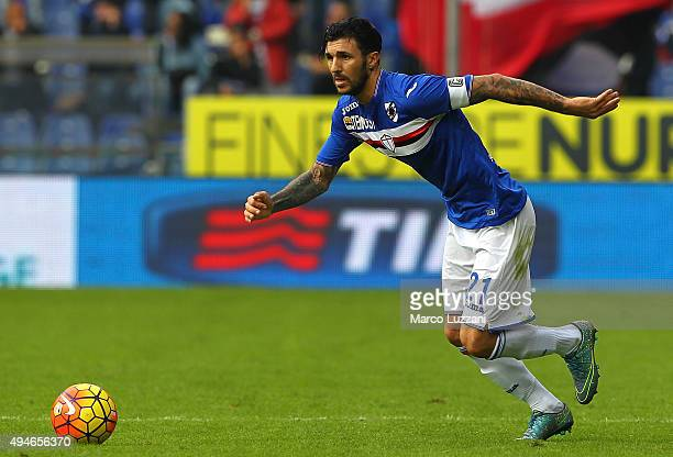 Roberto Soriano of Hellas Verona FC in action during the Serie A match between UC Sampdoria and Hellas Verona FC at Stadio Luigi Ferraris on October...