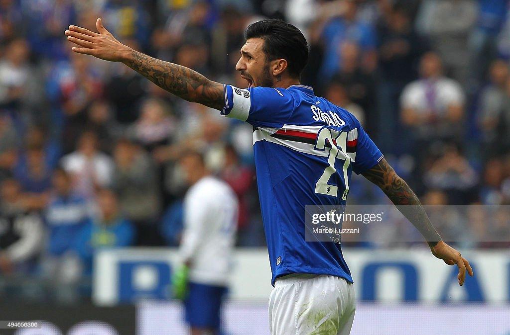 Roberto Soriano of Hellas Verona FC shouts during the Serie A match between UC Sampdoria and Hellas Verona FC at Stadio Luigi Ferraris on October 25...