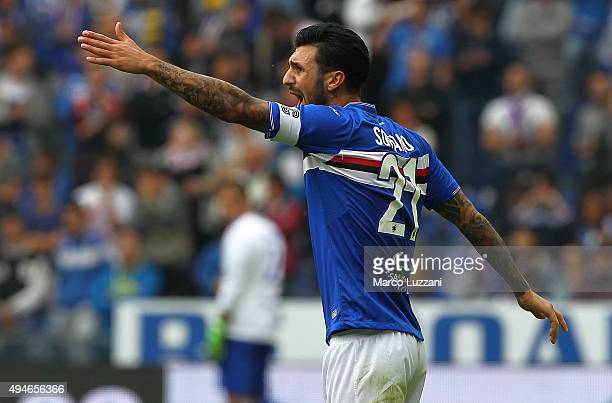 Roberto Soriano of Hellas Verona FC shouts during the Serie A match between UC Sampdoria and Hellas Verona FC at Stadio Luigi Ferraris on October 25...