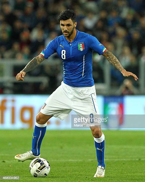 Roberto Soriano of Italy in action during the international friendly match between Italy and England at the Juventus Arena on March 31 2015 in Turin...