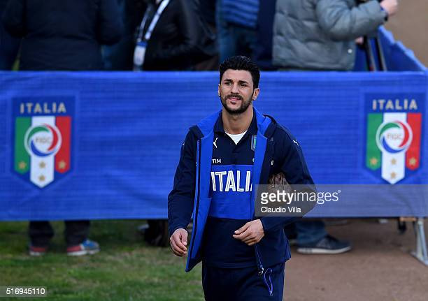 Roberto Soriano of Italy looks on prior to the Italy training session at the club's training ground at Coverciano on March 22 2016 in Florence Italy