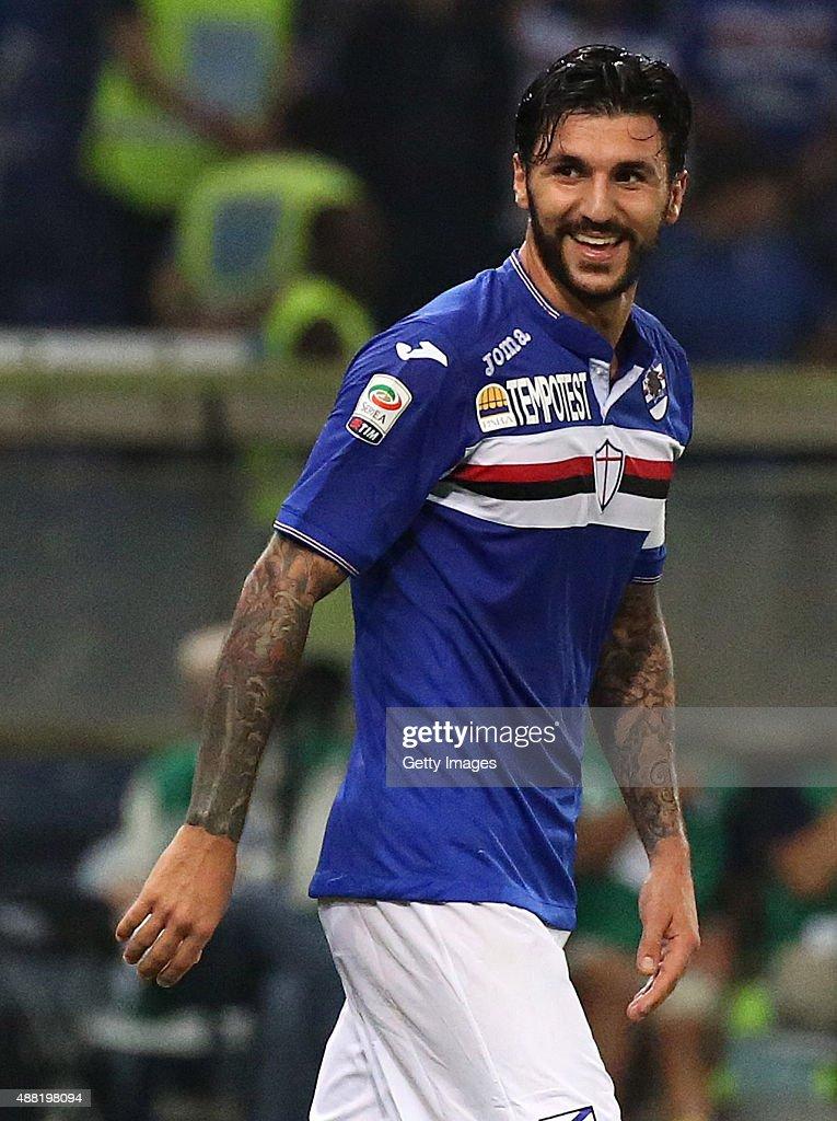 Roberto Soriano of Sampdoria celebrates after scoring the second goal during the Serie A match between UC Sampdoria and Bologna FC at Stadio Luigi...