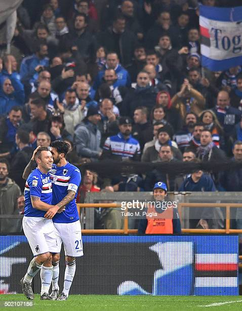 Roberto Soriano of Sampdoria celebrates with Antonio Cassano after scoring his team's second goal during the Serie A match between UC Sampdoria and...