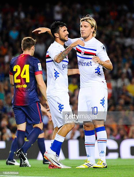 Roberto Soriano of Sampdoria celebrates with his teammate Maxi Lopez after scoring the opening goal during the Joan Gamper Trophy friendly match...