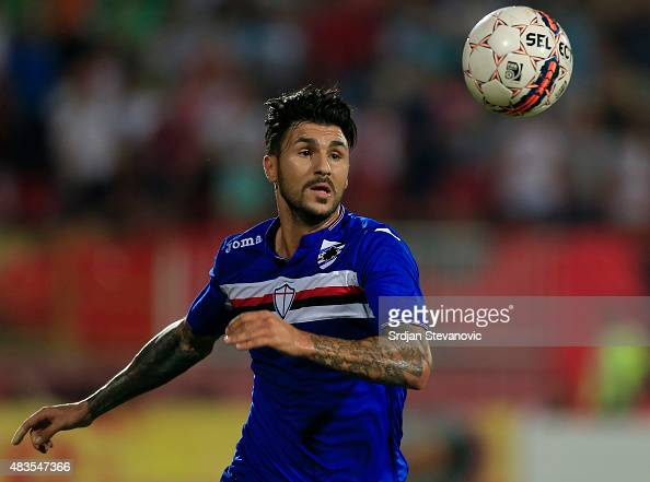 Roberto Soriano of Sampdoria in action during the UEFA Europa League Third Qualifying Round 2nd Leg match between Vojvodina Novi Sad and Sampdoria at...