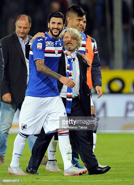 Roberto Soriano of UC Sampdoria celebrates the victory with his President Massimo Ferrero during the Serie A match between UC Sampdoria and AS Roma...