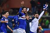 Roberto Soriano of UC Sampdoria celebrates victory at the end of the Serie A match between Genoa CFC and UC Sampdoria at Stadio Luigi Ferraris on...