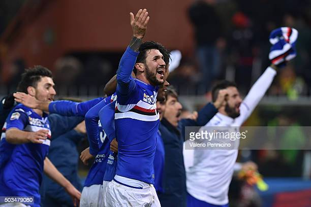 Roberto Soriano of UC Sampdoria celebrates victory at the end of the Serie A match between Genoa CFC and UC Sampdoria at Stadio Luigi Ferraris on...