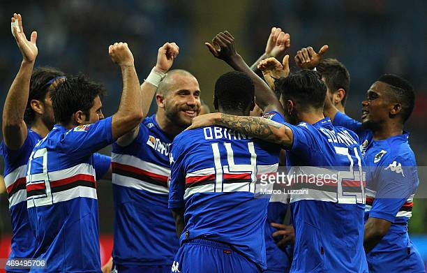 Roberto Soriano of UC Sampdoria celebrates with his teammates after scoring the opening goal during the Serie A match between AC Milan and UC...
