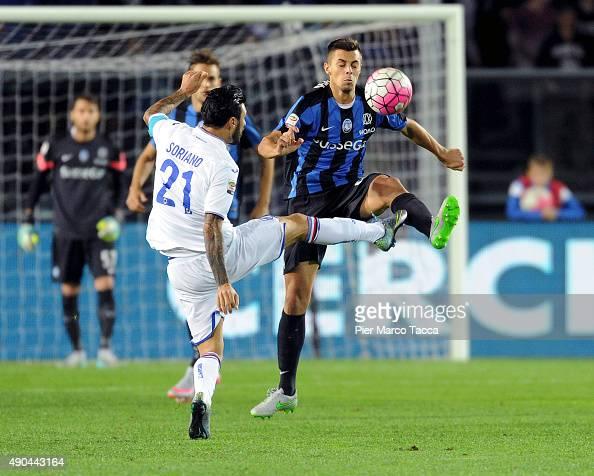 Roberto Soriano of UC Sampdoria competes for the ball with Alberto Grassi of Atalanta BC during the Serie A match between Atalanta BC and UC...