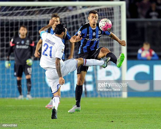 Roberto Soriano of UC Sampdoria competes for the ball with Alberto Grassi of Atalanta BC during the Serie A match between Atalanta BC and UC...