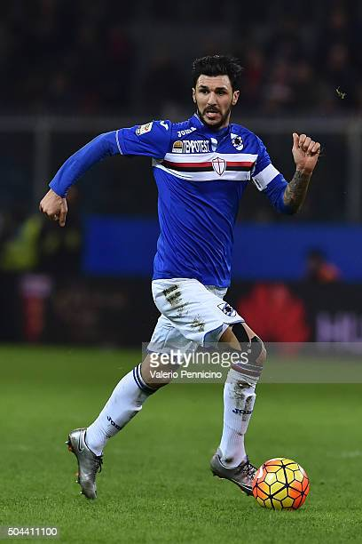 Roberto Soriano of UC Sampdoria in action during the Serie A match between Genoa CFC and UC Sampdoria at Stadio Luigi Ferraris on January 5 2016 in...